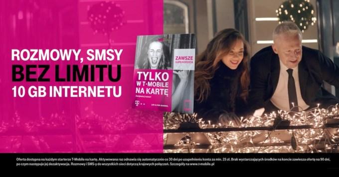 Oferta T-Mobile na kartę bez limitu i 10 GB internetu za 25 zł miesięcznie - kampania z Bogusławem Lindą