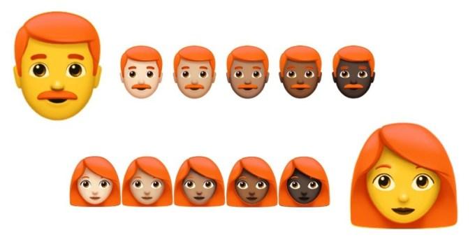 Emoji osób z rudymi włosami