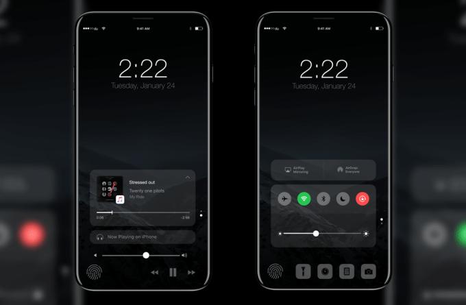 Centrum sterowania na koncepcji iPhone'a (iOS 11)