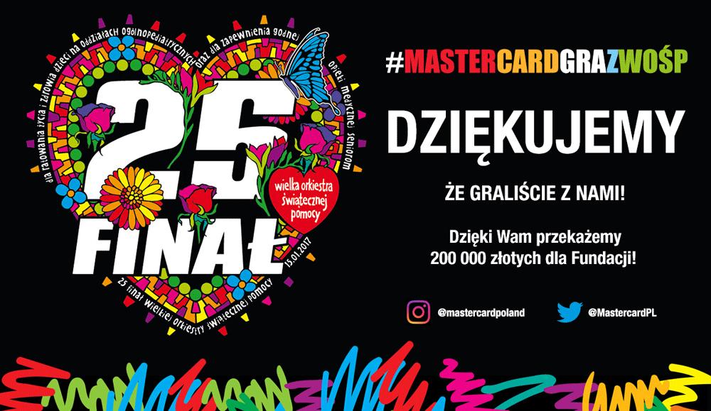 """Wyniki akcji """"Mastercard gra z WOŚP"""" - wyniki akcji na Twitterze i Instagramie"""