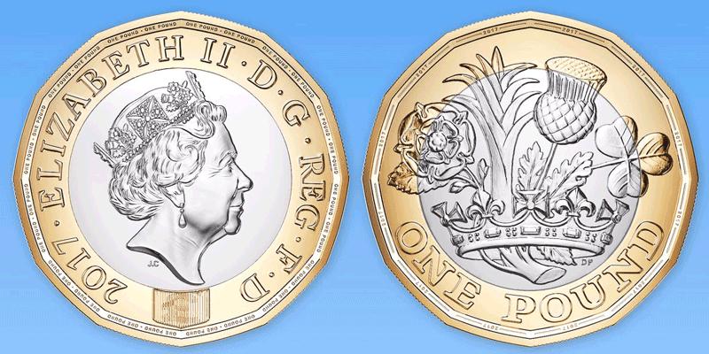 Nowa moneta funta brytyjskiego (1£) obowiązjąca od 28.03.2017 r. - awers i rewers
