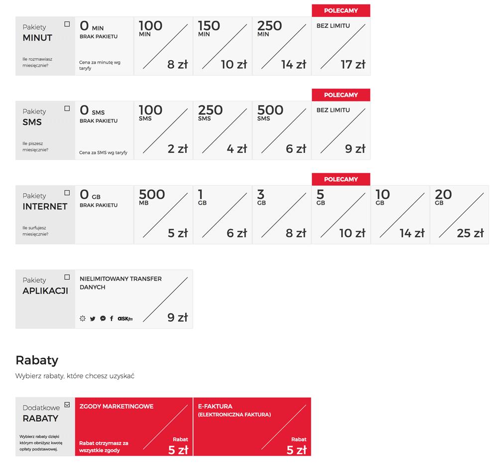 Pakiety w ofercie abonamentowej Virgin Mobile