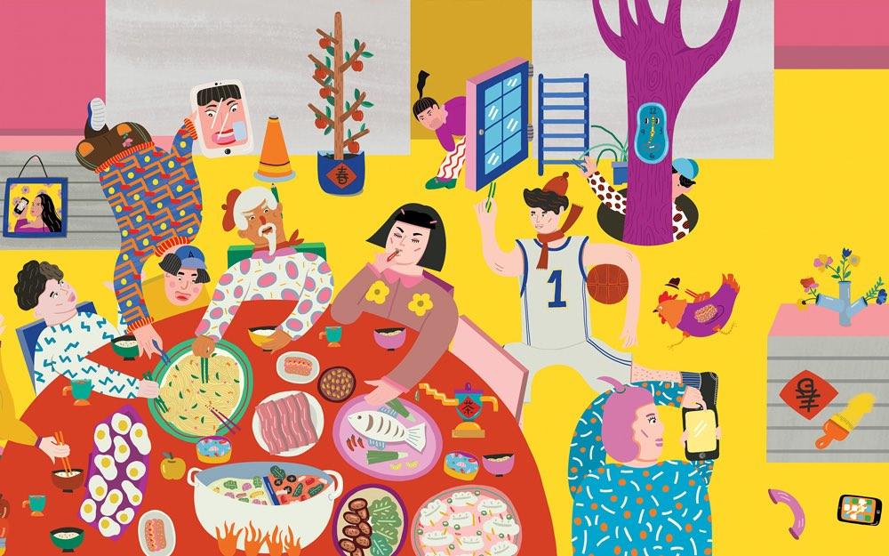 """Tapeta pt. """"Joyful reunions."""" z okazji Chińskiego Nowego Roku Koguta 2017 (autor: Eszter Chen)"""