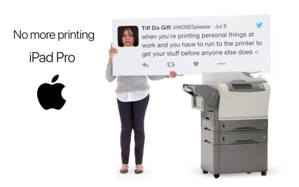 "Nowa reklama iPada Pro pt. ""No more printing"""