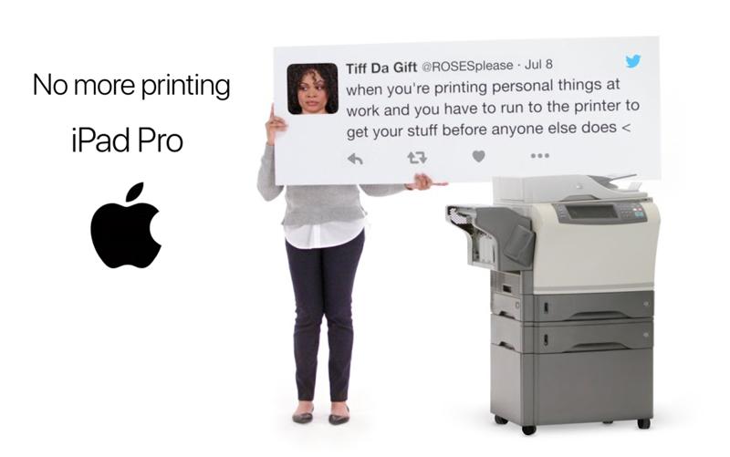 "Reklama iPada Pro pt. ""No more printing"""