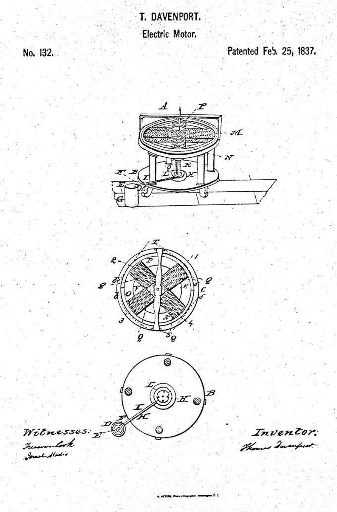 patent US 132 - silnik elektryczny (25 lutego 1837)