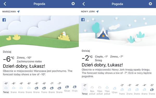Szczegółowa prognoza pogody w aplikacji Facebooka