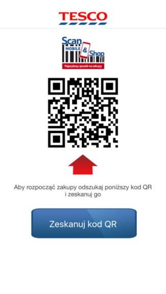 Screen z aplikacji mobilnej TESCO Scan&Shop