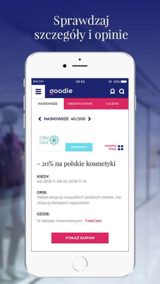 Screen aplikacji goodie (iOS)