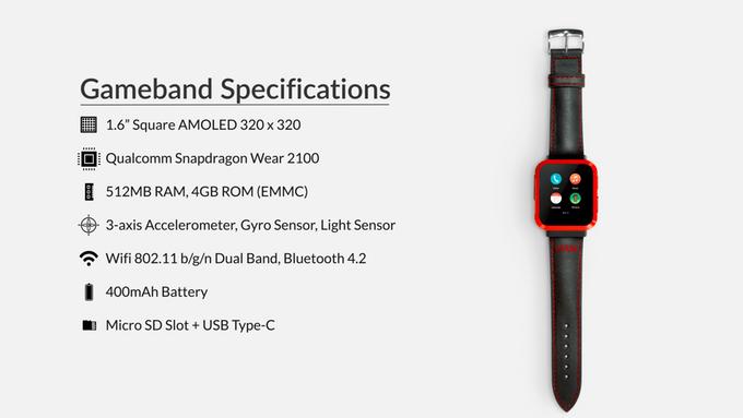 Specyfikacja techniczna zegarka Gameband