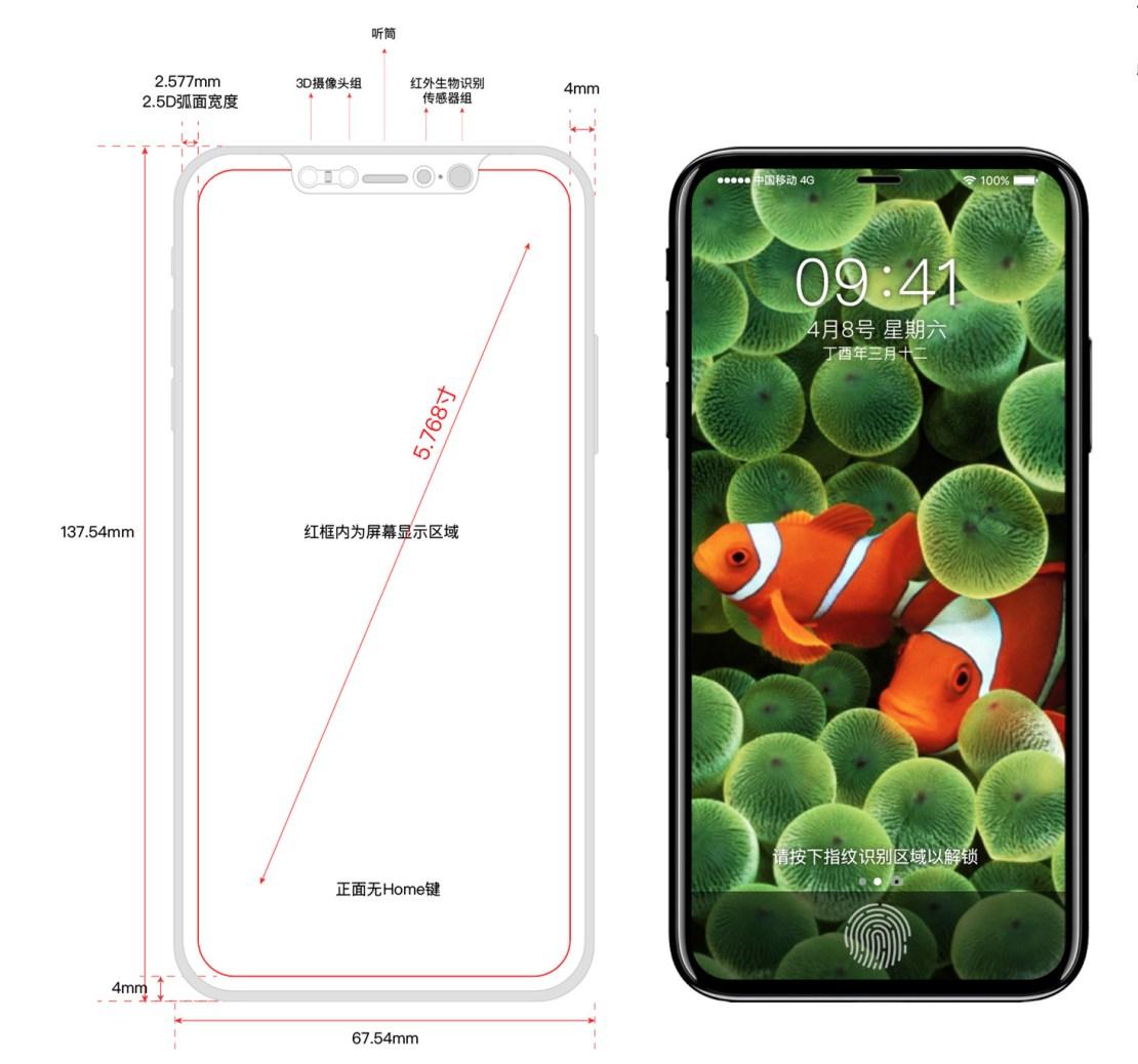 iPhone 8 (X, Edition) koncept i schemat