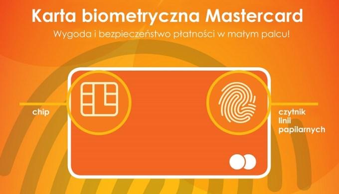 Karta biometryczna Mastercard z czytnikiem odcisku palca