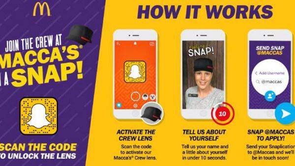McDonald's rekrutuje do pracy przez Snapchata?