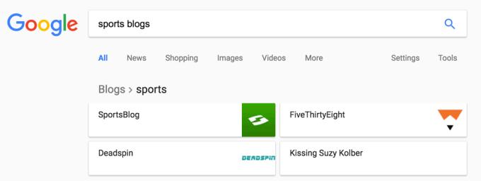"""Rich list w Google'u dla frazy """"sports blogs"""""""