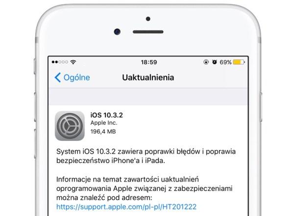 Finalny iOS 10.3.2 został udostępniony do pobrania