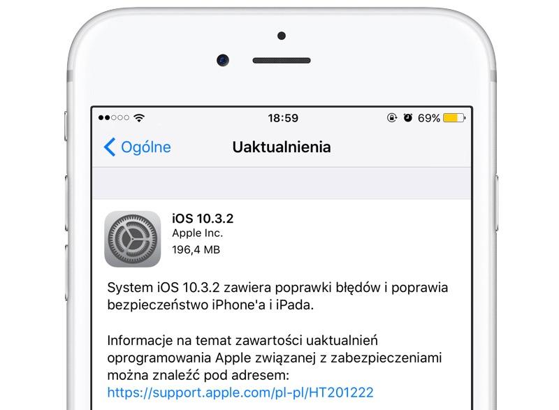 Uaktualnienie mobilnego systemu iOS 10.3.2