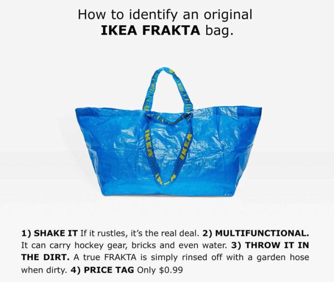 jak odróżnić torbę FRAKTA Ikei od torby Balenciaga