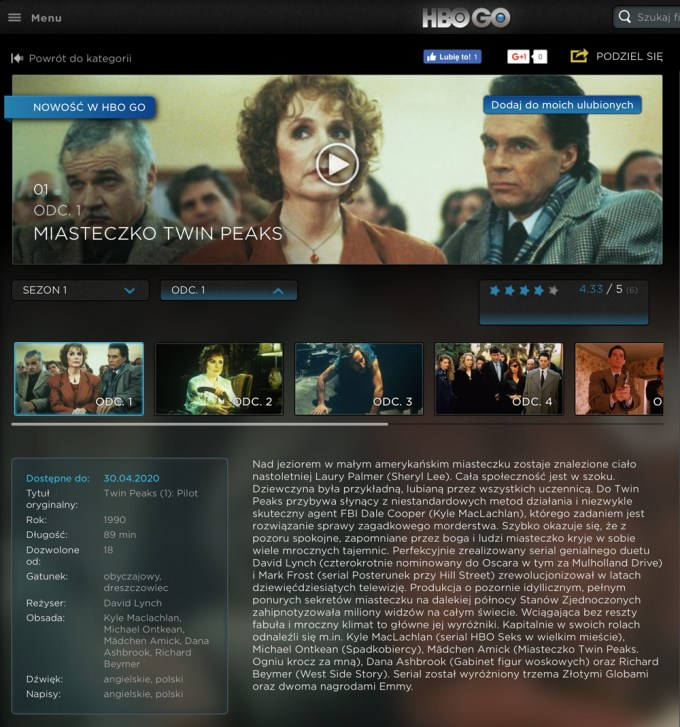 """""""Miasteczko Twin Peaks"""" sezon 1. w HBO GO"""