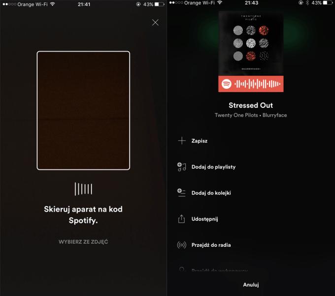 Skanowanie kodu Spotify