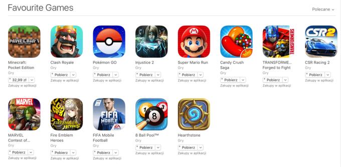 Ulubione gry mobilne w sklepie App Store (maj 2017)