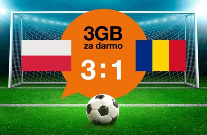 3 GB na internet od Orange w pakiecie kibica (10 czerwca 2017) za mecz POL-ROM