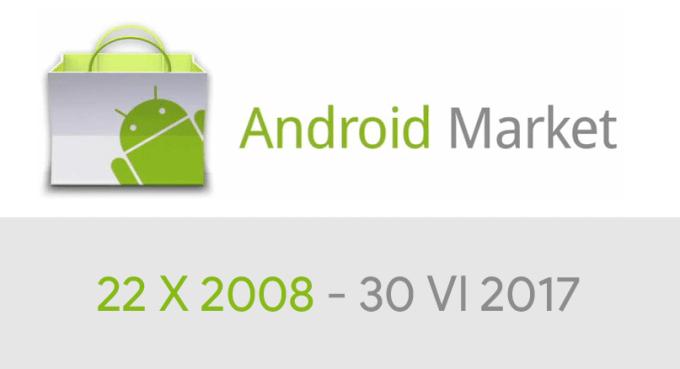 Android Market od 22 października 2008 do 30 czerwca 2017 r.