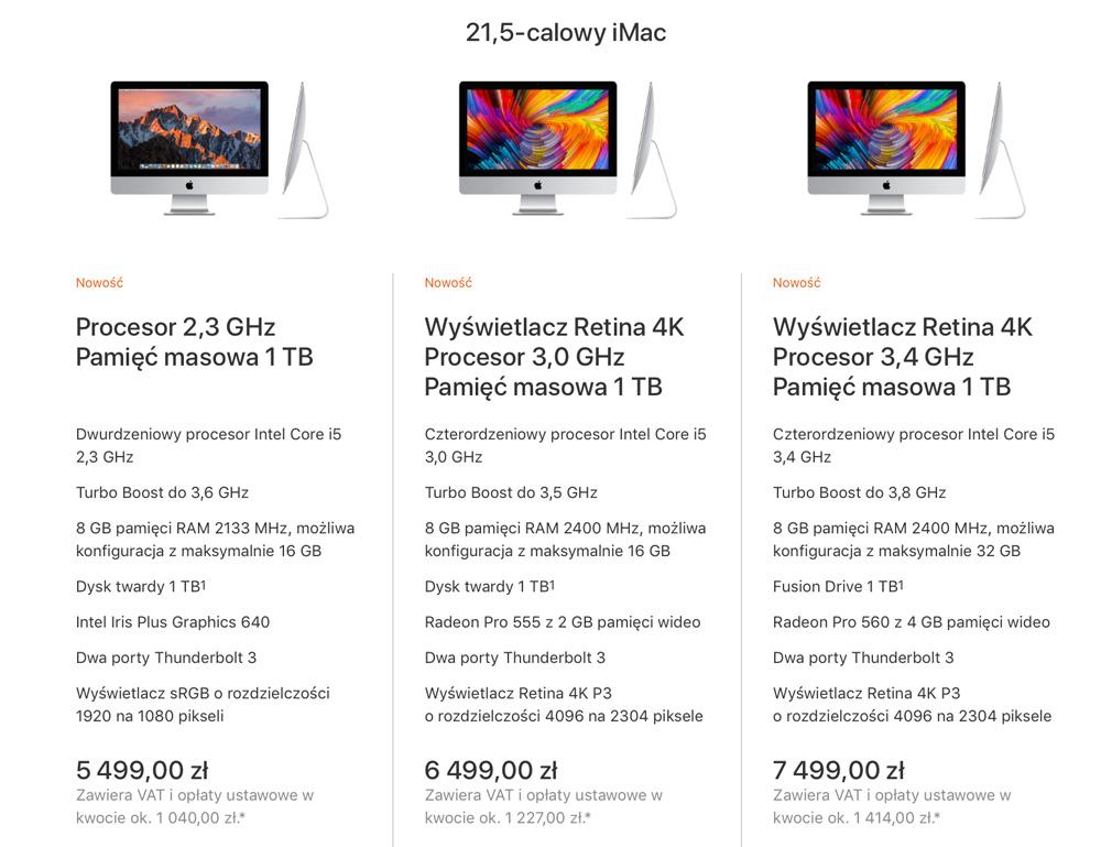 """Ceny i specyfikacja iMac 21,5"""" z 2017 r."""