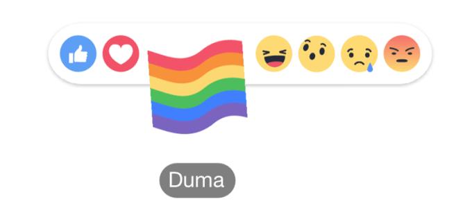 Reakcja Duma (Pride - tęczowa flaga) na Facebooku