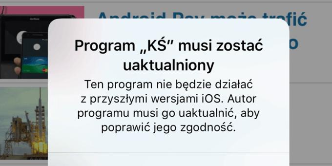 Zgodność 32-bitowych aplikacji mobilnych z iOS 11