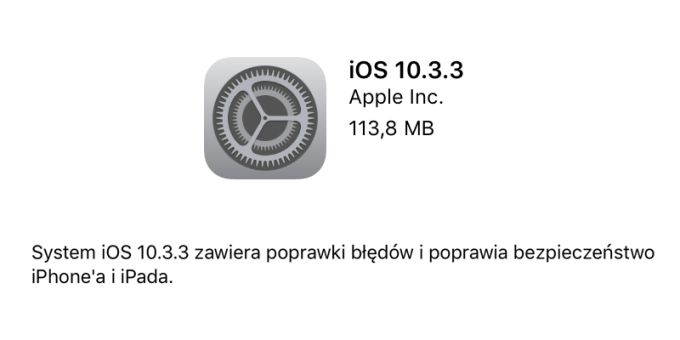 iOS 10.3.3 w trybie OTA