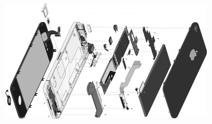 """Budowa iPhone'a - obrazek z książki """"The One Device"""", B. Merchant"""