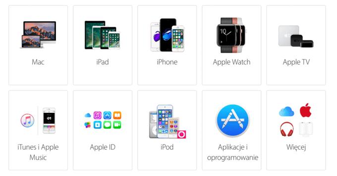 Wybór produktu Apple