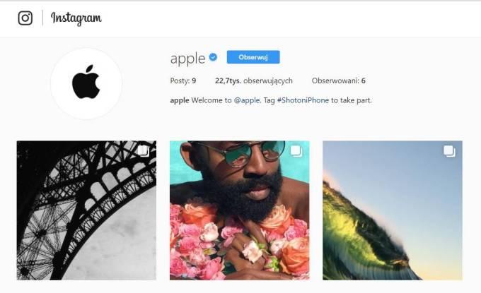 oficjalne konto Apple na Instagramie