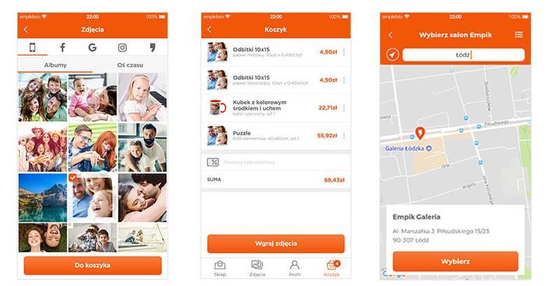 Screeny z aplikacji Empik Foto
