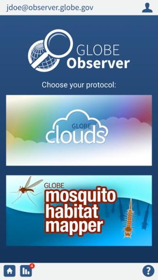 GLOBE Observer - screen aplikacji NASA