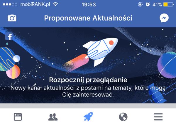 Proponowane Aktualności na Facebooku, czyli ikona z rakietą