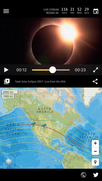 Total Solar Eclipse 2017 - screen aplikacji