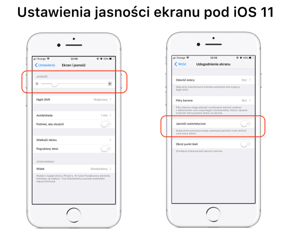 Gdzie wyłączyć automatyczną jasność ekranu pod iOS 11?