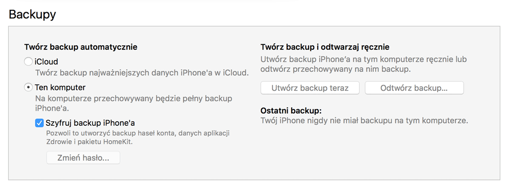 Backup iPhone'a w programie iTunes 12.7