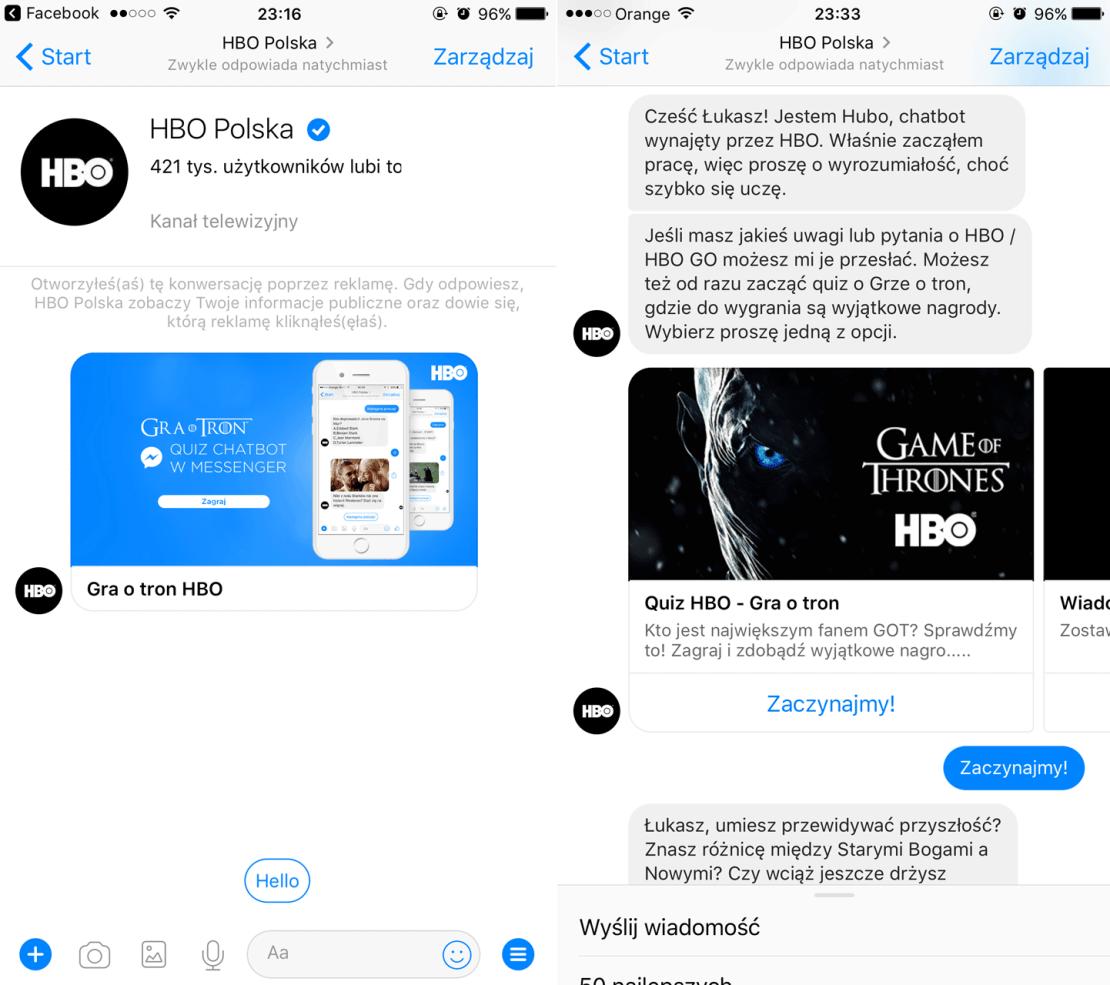 """Chatbot HBO - quiz wiedzy o serialu """"Gra o tron"""""""