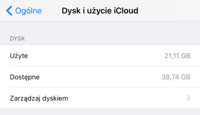 Dysk i użycie iCloud (Ustawienia iOS)