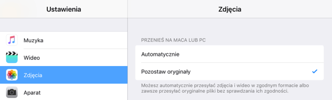 Eksportowanie zdjęć na Maca lub PC (wybór zgodności formatu plików).