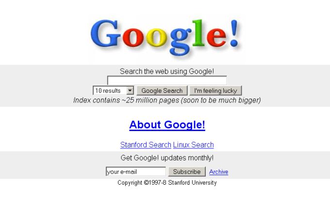 Strona główna Google.com w 1997 roku