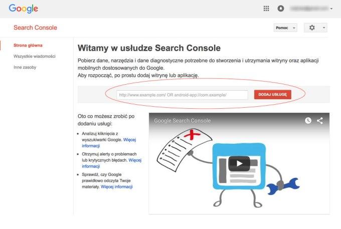 Strona główna Google Search Console