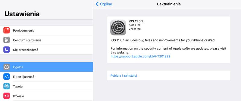Uaktyalnienie systemu iOS 11.0.1 w trybie OTA