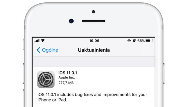 iOS 11.0.1 z poprawkami błędów i udoskonaleniami