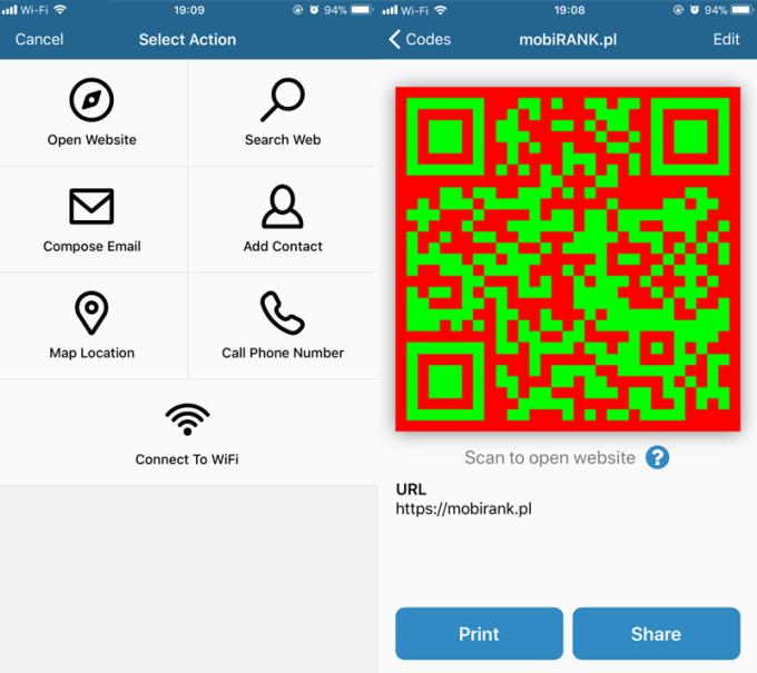 Generator kodów QR w aplikacji mobilnej Visual Codes