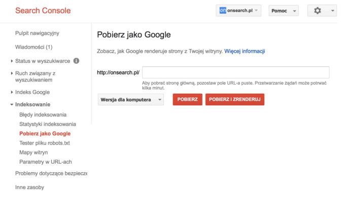 Pobierz jako Google w Search Console