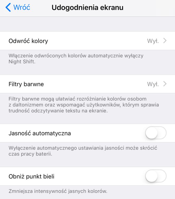 Udogodnienia ekranu (iOS 11)