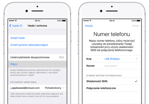 Uaktualnienie zabezpieczenia Apple ID w systemie iOS 11